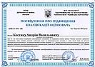 Посвідчення про підвищення кваліфікації оцінювача Костик А.В, 2019 (ЦМК)