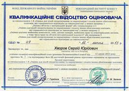 Кваліфікаційне свідоцтво оцінювача Хворова С.Ю. за спеціалізацією 1.8. (МФ) 2013 р.