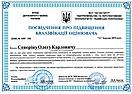 Посвідчення про підвищення кваліфікації оцінювача Северін О.К 2019. (ЦМК)